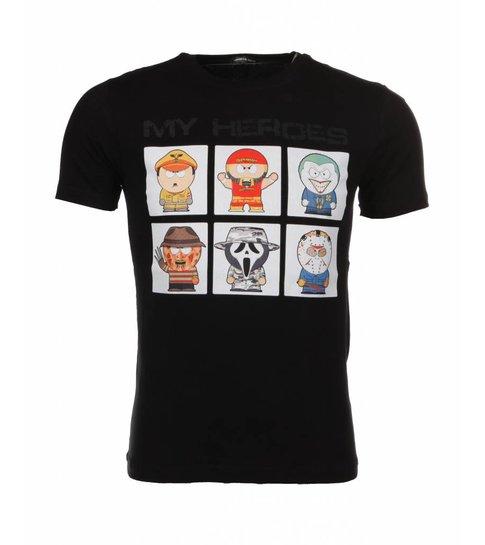 Local Fanatic T-shirt My Heroes - Zwart