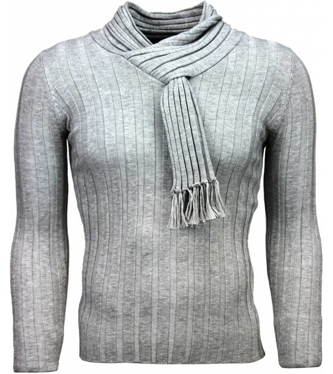 JUSTING Casual Trui - Sjaalkraag Design Strepen Motief - Lichtgrijs