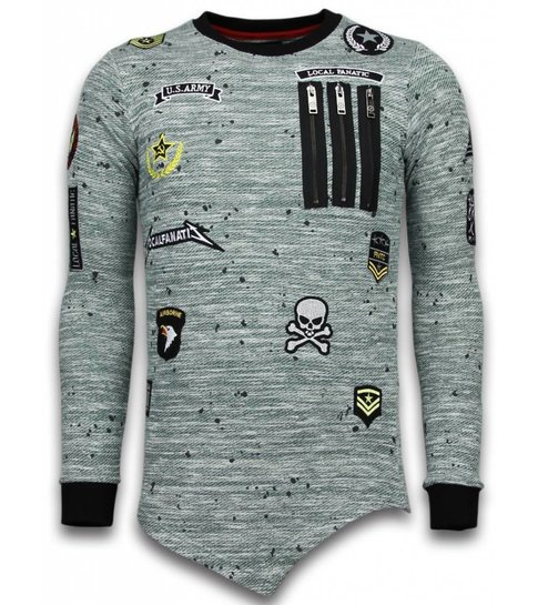 Local Fanatic Longfit Asymmetric Embroidery - Sweater Patches - US Army - Groen