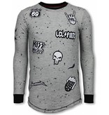 Local Fanatic Longfit Embroidery - Sweater Patches - Rockstar - Grijs