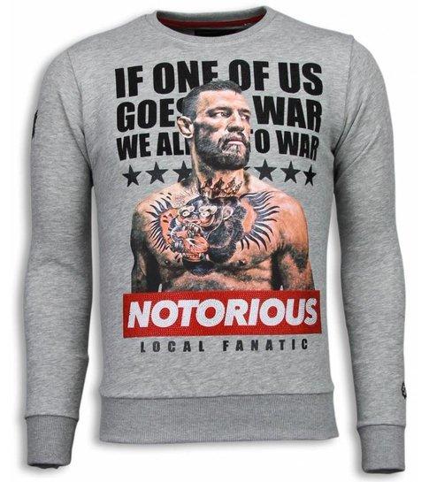 Local Fanatic Conor McGregor - Rhinestone Sweater - Grijs