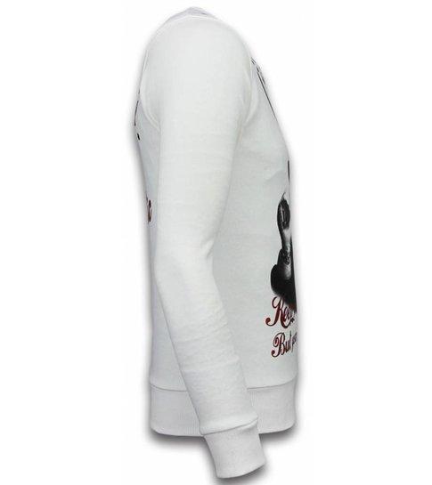 Local Fanatic Godfather - Rhinestone Sweater - Wit