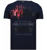 Local Fanatic Pablo Escobar Narcos - Rhinestone T-shirt - Blauw