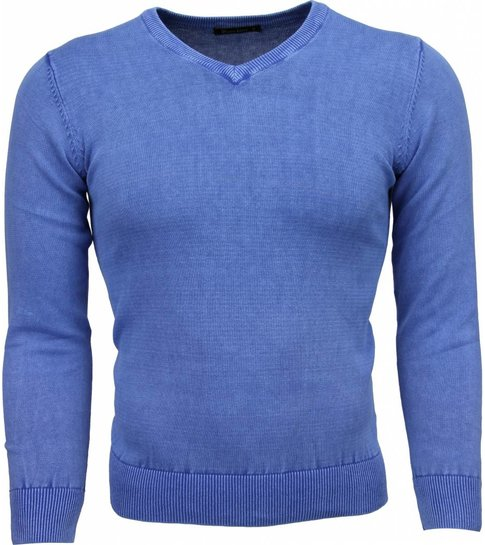 TONY BACKER Casual Trui - Exclusive Blanco V-Hals - Blauw