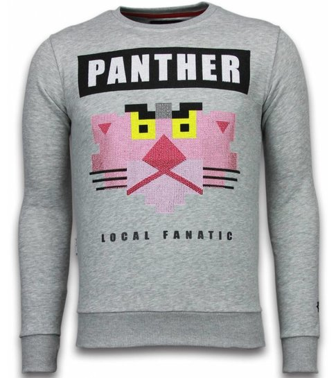 Local Fanatic Panther - Rhinestone Sweater - Grijs