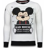 Local Fanatic Bad Mouse - Rhinestone Sweater - Wit