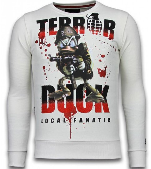 Local Fanatic Terror Duck - Rhinestone Sweater - Wit