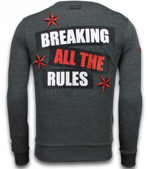 Local Fanatic Marilyn Rockstar - Rhinestone Sweater - Antraciet