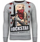 Local Fanatic Marilyn Rockstar - Rhinestone Sweater - Grijs