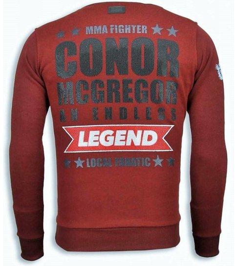 Local Fanatic Conor McGregor - Rhinestone Sweater - Bordeaux