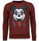 Local Fanatic Kiss My Mickey - Rhinestone Sweater - Bordeaux