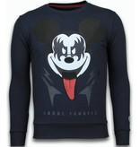 Local Fanatic Kiss My Mickey - Rhinestone Sweater - Navy