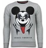 Local Fanatic Kiss My Mickey - Rhinestone Sweater - Grijs