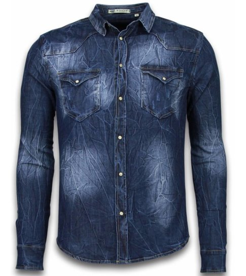 Enos Denim Shirt - Spijkerblouse Slim Fit - Vintage Washed - Blauw