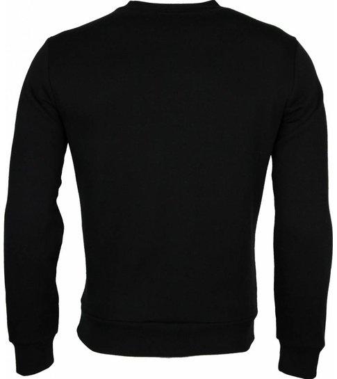 Local Fanatic Sweater - Bloemen Motief Getatoeëerd Dame Print Heren - Zwart