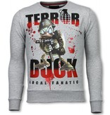Local Fanatic Terror Duck - Rhinestone Sweater - Grijs