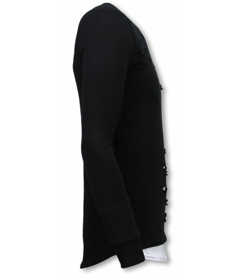 Uniplay Longfit Sweater - Damaged Look Shirt - Zwart