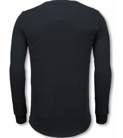 TONY BACKER Longfit Sweater - Damaged Look Shirt - Zwart