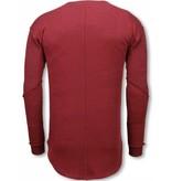 TONY BACKER Longfit Sweater - Damaged Look Shirt - Bordeaux