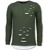 Uniplay Longfit Sweater - Damaged Look Shirt - Groen