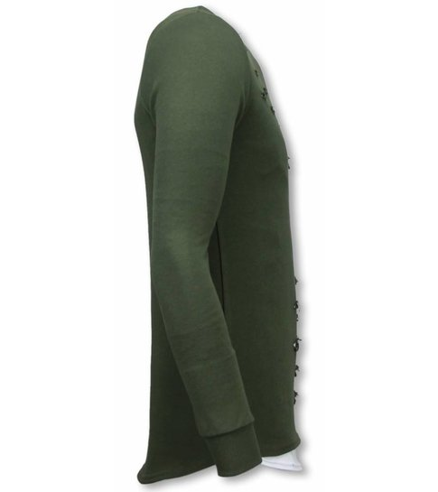 TONY BACKER Longfit Sweater - Damaged Look Shirt - Groen