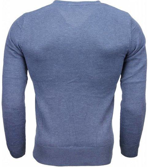 TONY BACKER Casual Trui - Exclusive Blanco V-Hals - Donker Blauw