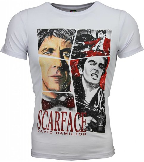 Local Fanatic T-shirt - Scarface Frame Print - Wit