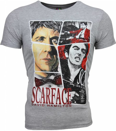 Local Fanatic T-shirt - Scarface Frame Print - Grijs