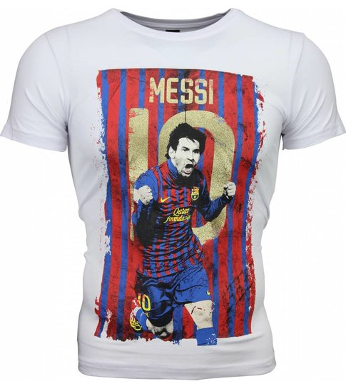 Local Fanatic - Masch. T-shirt - Messi 10 Print - Wit