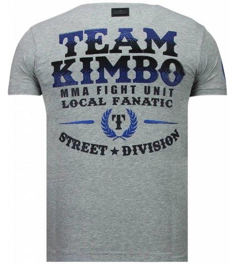 Local Fanatic Kimbo Slice - Rhinestone T-shirt - Grijs