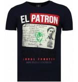 Local Fanatic El Patron Narcos Billionaire - Rhinestone T-shirt - Blauw