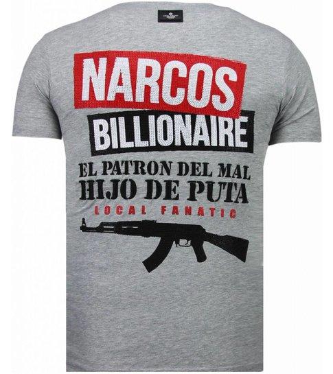 Local Fanatic El Patron Narcos Billionaire - Rhinestone T-shirt - Grijs