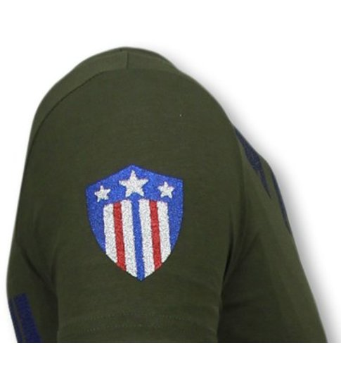 Local Fanatic Captain Duck - Rhinestone T-shirt - Groen