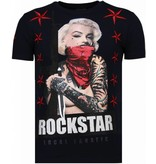 Local Fanatic Marilyn Rockstar - Rhinestone T-shirt - Blauw