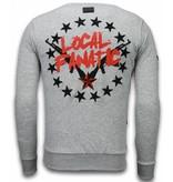 Local Fanatic Bad Boys - Rhinestone Sweater - Grijs