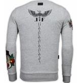Local Fanatic McGregor Notoriuous Tattoo - Embroidery Sweater - Grijs
