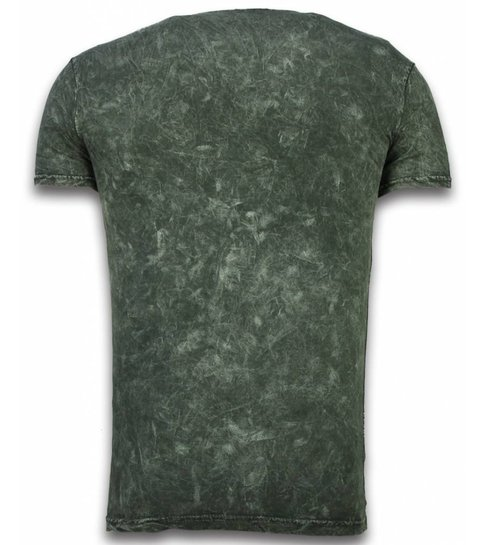 Hey Boy Exclusief Dip Dye T-shirt - Colour Leaf - Khaki