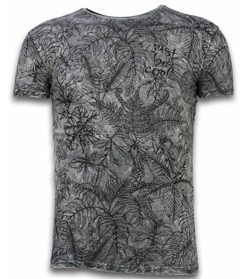 Hey Boy Exclusief Dip Dye T-shirt - Just Be Cool Leaves - Grijs