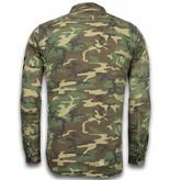 BB  Bread & Buttons Exclusief Overhemd - Slim Fit Lange Mouwen Heren - Camouflage Pattern - Groen/Bruin