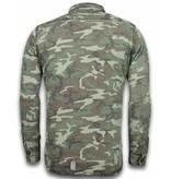 BB  Bread & Buttons Exclusief Overhemd - Slim Fit Lange Mouwen Heren - Camouflage Pattern - Groen