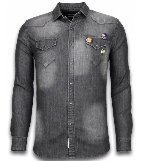 BB  Bread & Buttons Denim Shirt - Spijkerblouse Slim Fit - 3 Buttons - Grijs