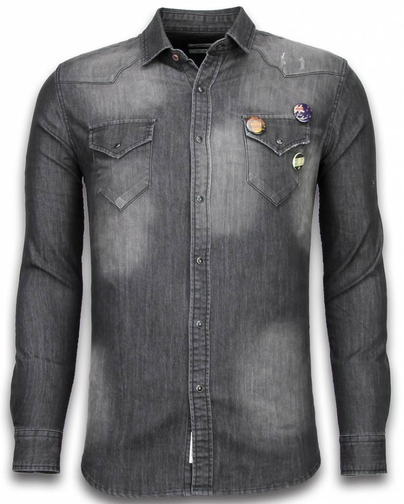 grijze denim blouse