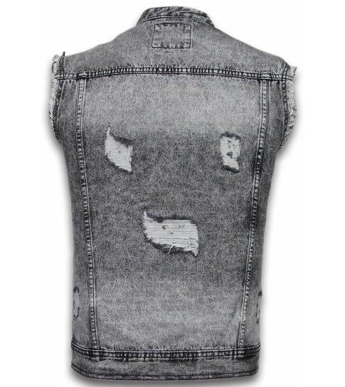 Bruno Leoni Spijkerjasje - Spijkerjasje Heren Denim Gilet Sleeveless - Damaged Look - Zwart