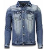 TONY BACKER Spijkerjasje - Spijkerjasje Heren Denim Jacket - Stonewashed Look - Blauw