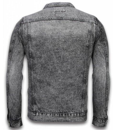TONY BACKER Spijkerjasje - Spijkerjasje Heren Denim Jacket - Stonewashed Look - Grijs
