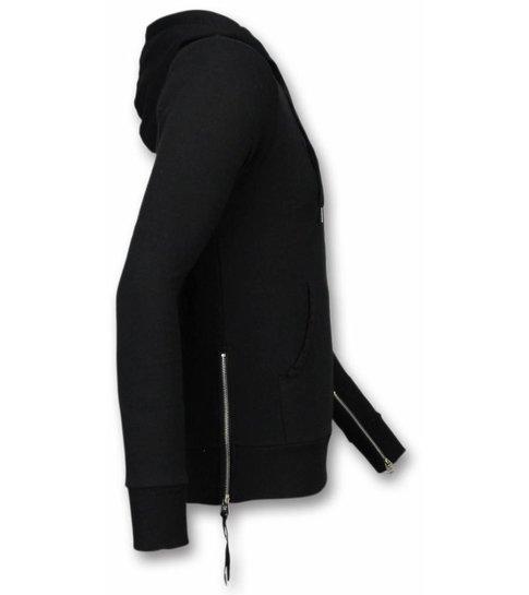 BB  Bread & Buttons Casual Vest - Sweater Heren Side Zippers - Zwart