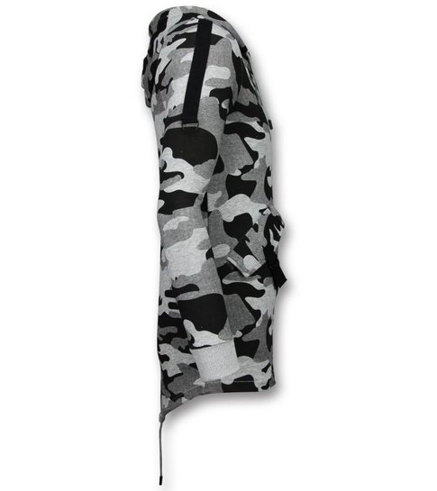 Enos Casual Vest - Long Fit Camouflage Vest - Grijs