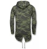 Enos Casual Vest - Long Fit Camouflage Vest - Khaki