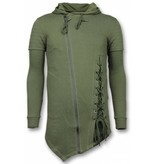 Enos Casual Vest - Long Fit Braided Vest - Khaki