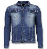 TRUE RISE Spijkerjasje - Stone Wash Spijkerjasje Heren Denim Jacket - Blauw